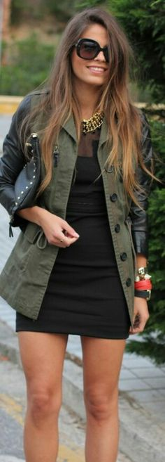 Black Dress Jacket leather sleeves, love this outfit! Look Fashion, Autumn Fashion, Fashion Outfits, Womens Fashion, Fashion Black, Black Dress Jacket, Green Jacket, Jacket Style, Fall Outfits