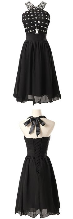 Short Prom Dresses Black, Cheap Prom Dresses For Teens 2018, A-line Cocktail Party Dresses Halter, Chiffon Homecoming Dresses with Beading