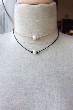 Pearl choker and bracelet set; gift; leather choker; two pearl clasp; adjustable; jewelry set;