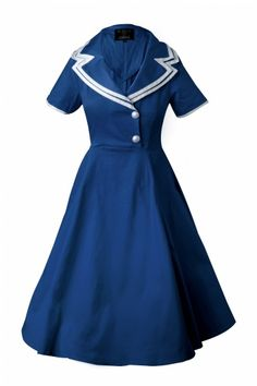 Navy Swing Dress.  Make it with a narrower skirt and double breasted buttons