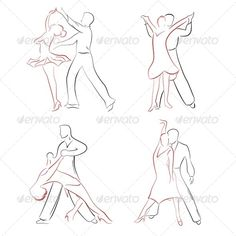 Ballroom Dancing  #GraphicRiver         Four pairs of ballroom dancers in various poses.