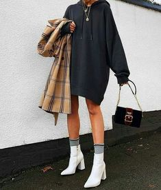 champion sweatshirt outfit plaid coat white booties - Prada Dress - Ideas of Prada Dress - champion sweatshirt outfit plaid coat high socks white booties prada crossbody velvet bag gold layered necklaces Mode Outfits, Dress Outfits, Casual Outfits, Fashion Outfits, Fashion 2018, Fall Outfits, Summer Outfits, Fashion Heels, Fashion Boots