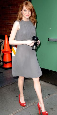 Emma Stone in a gray L'Agence sheath. I like that she paired it w/ red heels (nice pop of color).