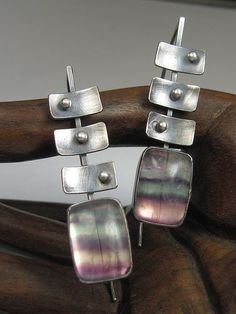 Sterling Silver and Fluorite Diagonal Step Earrings   Flickr