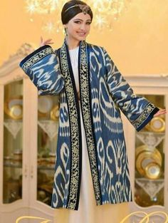 Uzbek ikat. Silk.  Handmade. Uzbek traditional clothing.