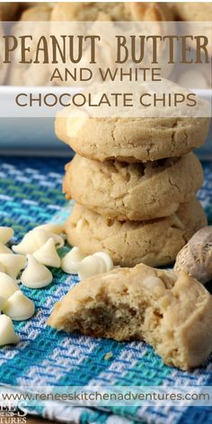 Peanut Butter and White Chocolate Chip Cookies by Renee's Kitchen Adventures. Delicious peanut butter drop cookies speckled with creamy white chocolate chips. Easy to make. No special baking equipment needed. #RKArecipes #cookies #peanutbuttercookies #dropcookies Delicous Desserts, Delicious Cookie Recipes, Holiday Cookie Recipes, Easy Cookie Recipes, Homemade Desserts, Best Dessert Recipes, Homemade Cakes, Dessert Ideas, Fun Desserts