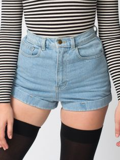 American Apparel - Medium Wash High-Waist Jean Cuff Short