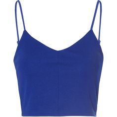 Royal Blue Spaghetti Strap Crop Top ($20) ❤ liked on Polyvore featuring tops, crop tops, shirts, blue, cropped, v neck shirt, blue top, blue shirt, v-neck shirts and rayon shirts
