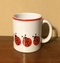Waechtersbach-West-Germany-ladybug-mug-coffee-cup-red-trim-German-pottery