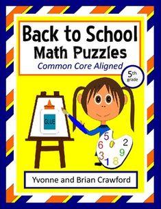 Back to School Common Core Math Puzzles - 5th Grade