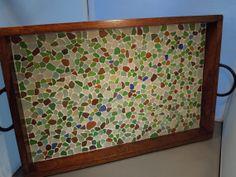Genuine Sea Glass Mosaic Serving Tray beach glass Handmade handcrafted found treasure sea glass on Etsy, $125.00