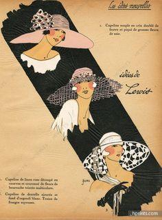 """1922 Les Idées Nouvelles de la Mode - Très Parisien, """"Capelines"""" Lewis, J. Dory"""