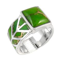 Green turquoise ring made with genuine semi-precious stones. #greenturquoise #greenring #50thbirthdayparty