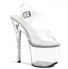Pleaser DIAMOND-708 Clear/Clear Ankle Strap Sandal