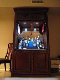 Tv armoire repurposed into a bar. After all every writer's office needs one right?