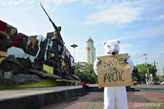Have you seen this polar bear in front of Liwasang Bonifacio in Manila? Help save his home at ☛ www.SaveTheArctic.org ☚  Share this post to spread the word far and wide. Save The Arctic, Have You Seen, Manila, Polar Bear, Mount Rushmore, Mountains, Nature, Travel, Naturaleza