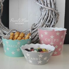 Candy Kom Star Light Grey, Snack Mint, Chips Pink