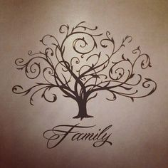I want this either painted or as a sticker on my living room wall with family photos hung on the tree!  :)