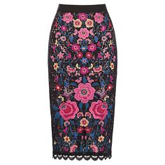 Buy Oasis Embroidered Lace Skirt, Black, 8 Online at johnlewis.com