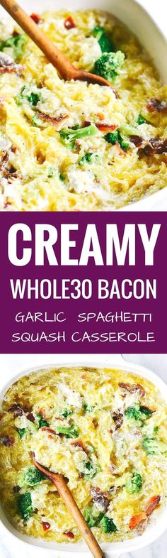 Extra Off Coupon So Cheap Easy creamy bacon garlic spaghetti squash bake. Paleo healthy and easy to make! Get ready to dig into some serious delicious and healthy eats! How to cook spaghetti squash. Whole30 Dinner Recipes, Paleo Dinner, Paleo Recipes, Whole Food Recipes, Paleo Meals, Dog Recipes, Free Recipes, Potato Recipes, Hamburger Recipes