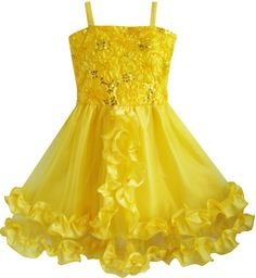 59fadf40c8d7d Pageant Flower Girl Dress Wedding Party Yellow Shinning Sequins Size 4-10  Formal  SunnyFashion