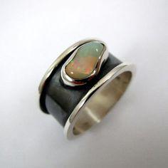 Men's Opal Ring, Men's Silver Ring, Fire Opal Ring, Rainbow Stone