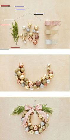 How to create a Christmas ball wreath in less than an hour / Comment faire une c. - How to create a Christmas ball wreath in less than an hour / Comment faire une couronne de boules e - All Things Christmas, Christmas Holidays, Christmas Ornaments, Christmas Balls Decorations, Christmas Christmas, Homemade Christmas Wreaths, Wood Decorations, Christmas Recipes, Ornaments Ideas