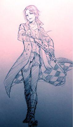 Touken Ranbu fanart of Kashuu Kiyomitsu drawn by Yana Toboso (the author of Black Butler)