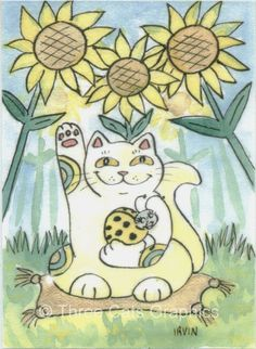 Neko Cat with The Lucky Ladybug Ms Sunflower by threecatsgraphics, $15.00