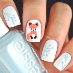 Fox Nailart! Such a cute fox! #foxnails #cutenails #nailart #nails #nailpolish #naillacquer - bellashoot.com #blue #white #fox
