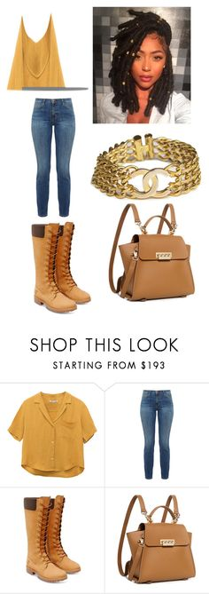 """Untitled #387"" by askariwilson on Polyvore featuring Current/Elliott, Timberland, ZAC Zac Posen and Chanel"