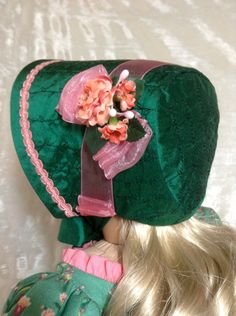 Regency Bonnet in embroidered Green Silk embellished with silk flowers, by DollSizeDesigns via Etsy