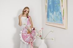 ITEM 6.6 ~ BLOSSOM | Isobel Badin Pastel Pink, Lilac, Plum Wine, Craft Bags, Blossom Trees, Circle Shape, Pink Quartz, Striped Linen