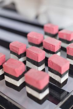 Marshmallows - Kate Spade inspired black, white, with a pop of hot pink party