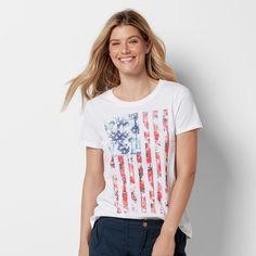 Women's Patriotic Graphic Crewneck Tee,
