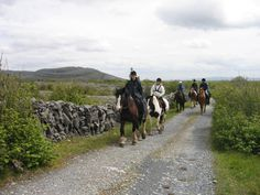 Horseback riding in Ireland (also http://www.irishhorseriding.com/gallery/index.php?dir=Galway+Clare+Burren+trail+ride&pic=16 )