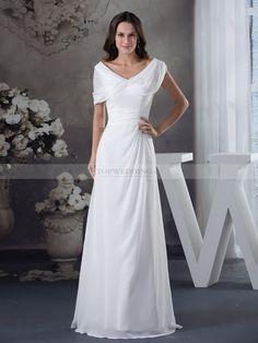 Natilie - robe de mariée a-ligne manche courte en mousseline polyester avec ruché