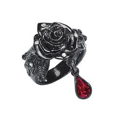 Black Rose Ring - New Age & Spiritual Gifts at Pyramid Collection from The Pyramid Collection. Saved to My Wishlist. Goth Jewelry, Jewelery, Jewelry Rings, Jewelry Closet, Gothic Jewellery, Red Jewelry, Stone Jewelry, Pyramid Collection, Renaissance Jewelry