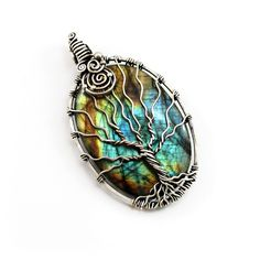 Labradorite Tree of life pendant Sterling silver and Peridot  #wirework