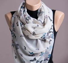 Butterfly Summer ScarfSpring ScarfInfinity by STEAMSTYLEeu on Etsy