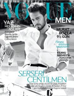 Turkish singer Murat Boz wearing Burberry on the June cover of Vogue Men Turkey