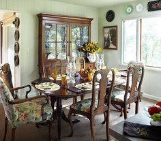 Love the dining room table but with different chair covers! And china cabinet is beautiful!