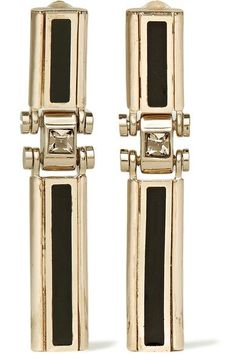 Lanvin - Gold-tone, Swarovski Crystal And Resin Clip Earrings - Metallic - one size