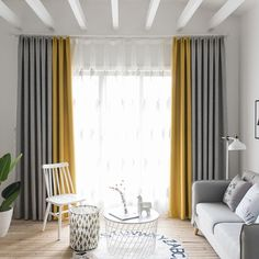 Patchwork Blackout Curtain Panels Gold 4 Prong Pinch Pleat Drapery for Living Room, Gray and Yellow, x 2 Piece Curtains & Drapes Living Room Decor Curtains, Home Curtains, Living Room Windows, Room Darkening Curtains, Grey And Yellow Living Room, Living Room Modern, Living Room Designs, Yellow And Grey Curtains, Yellow Gray Bedroom