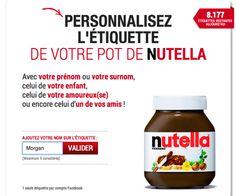 Les étiquettes de pots de Nutella à votre nom