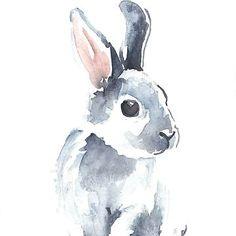 'Moon Rabbit I' Canvas Print by Denise Faulkner
