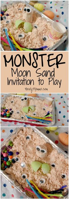 This Monster Moon Sand Invitation to Play is so easy and fun for the kids. I made this and the kids played with it for like a WEEK. Monster Activities, Sensory Activities, Sensory Play, Toddler Activities, Sensory Table, Sensory Bins, Halloween Activities, Indoor Activities, Preschool Ideas