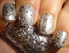 grey cream polish with essie set in stones over top. Lovely.
