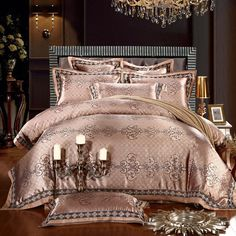 15 Colors Luxury 60s Palace Dobby Cotton King Queen Size Bedding Set 4pcs Duvet Cover Silk Satin Housse De Couette Ropa Cama In Sets From Home