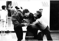 Rudolf Nureyev (1938-93), Anthony Dowell (b.1943) as Prospero and Wayne Eagling (b.1950) as Ariel rehearsing The Tempest, photo Anthony Crickmay (b.1937). Choreography by Rudolf Nureyev. Black and white photography. London, England, 1982.